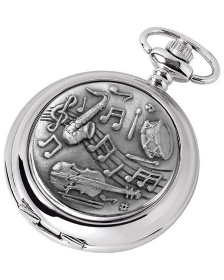 'Musical' Design Quartz Pocket Watch with Chain